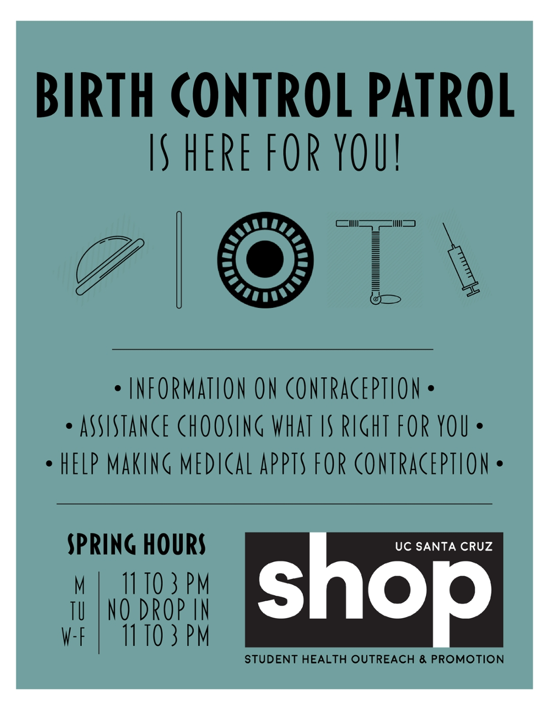 Birth Control Patrol winter hours